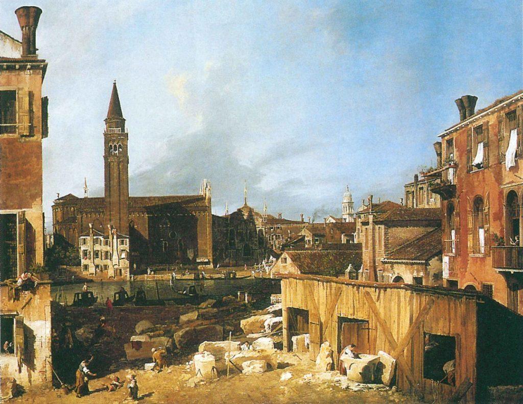 """Giovanni Antonio Canal (Canaletto) 1697-1768. La Chiesa della Scuola della Carità e il laboratorio dei """"tagiapiera"""", olio su tela, 123,8x162,9 cm, Londra, National Gallery, 1725."""